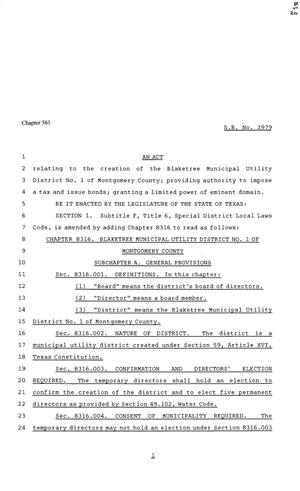Primary view of object titled '81st Texas Legislature, Senate Bill 1979, Chapter 561'.