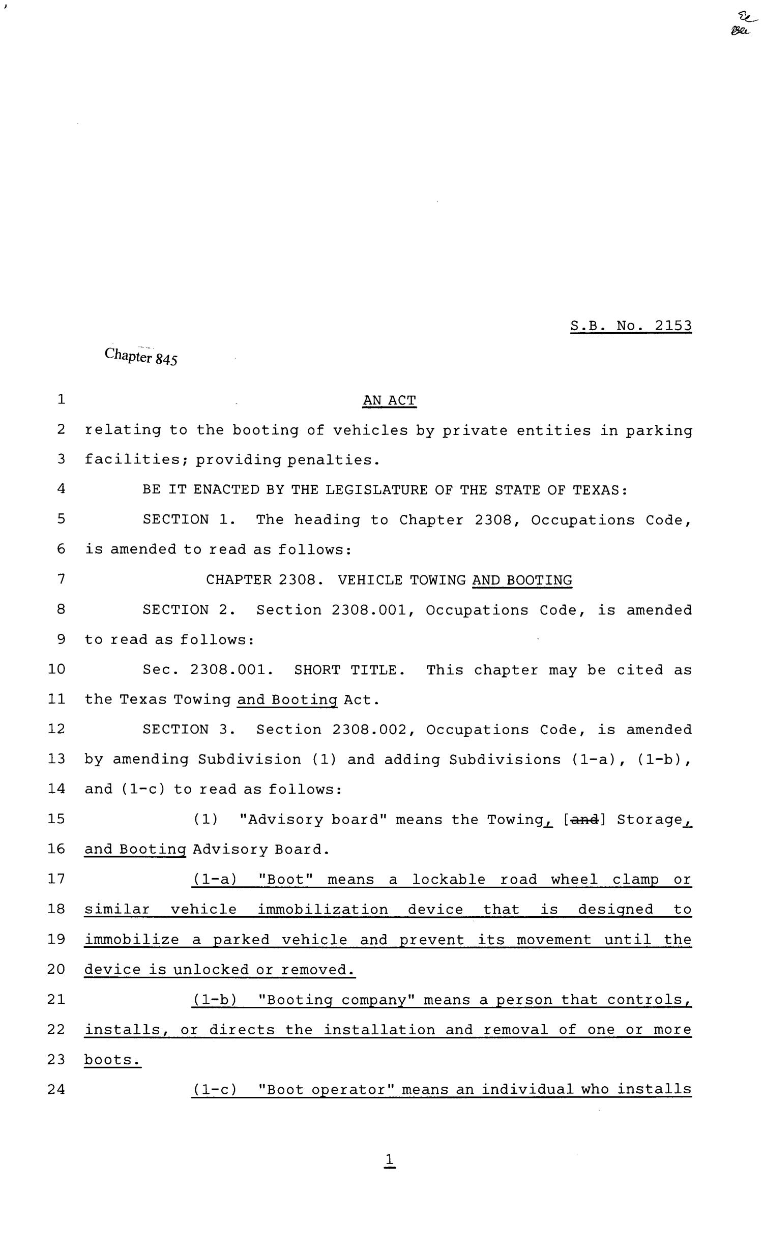 81st Texas Legislature, Senate Bill 2153, Chapter 845                                                                                                      [Sequence #]: 1 of 19