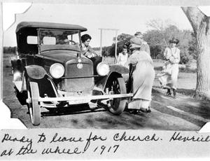 Primary view of object titled 'Henrietta and Blanche Bideault in a Car Ready to Leave for Church'.