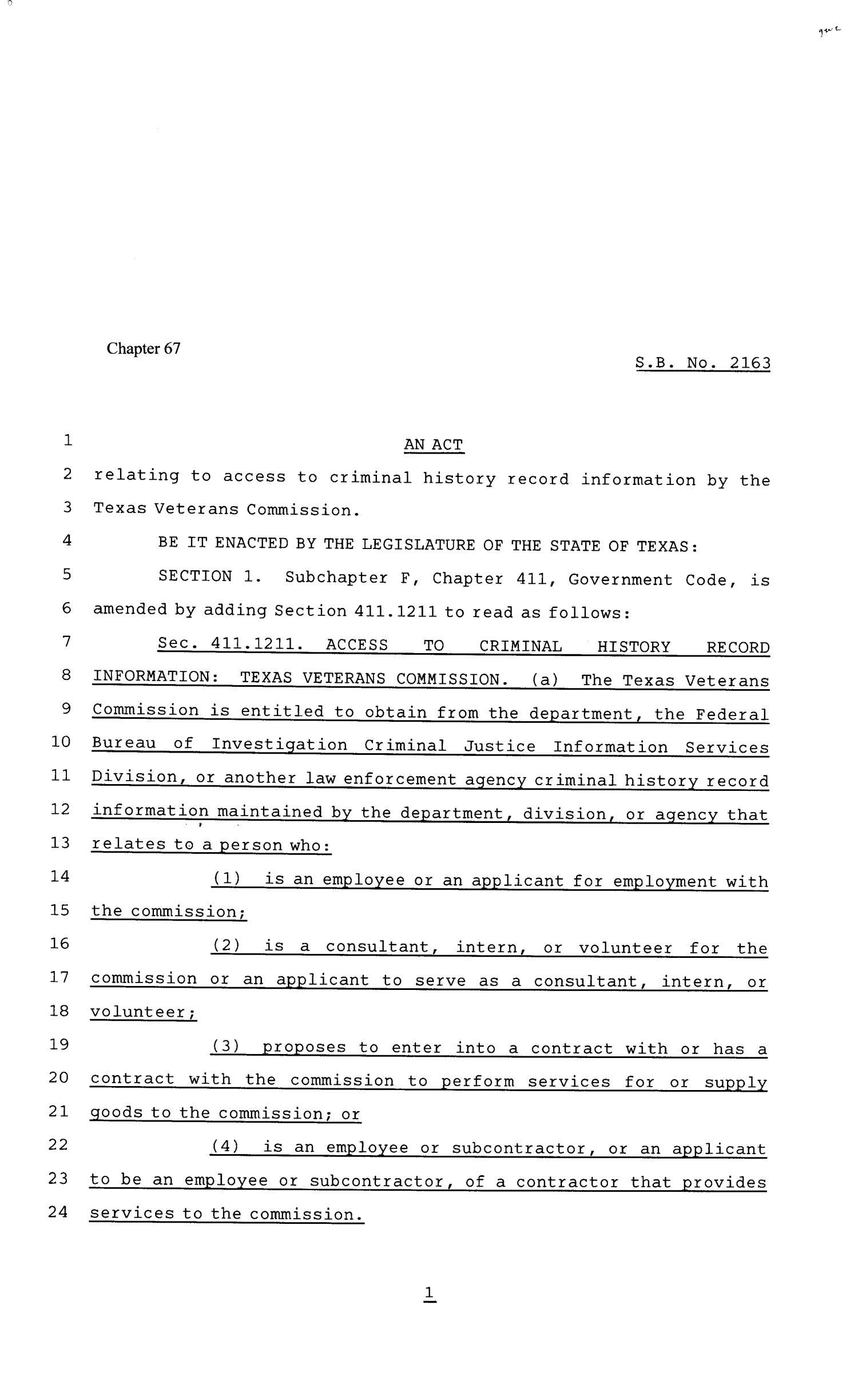 81st Texas Legislature, Senate Bill 2163, Chapter 67                                                                                                      [Sequence #]: 1 of 3