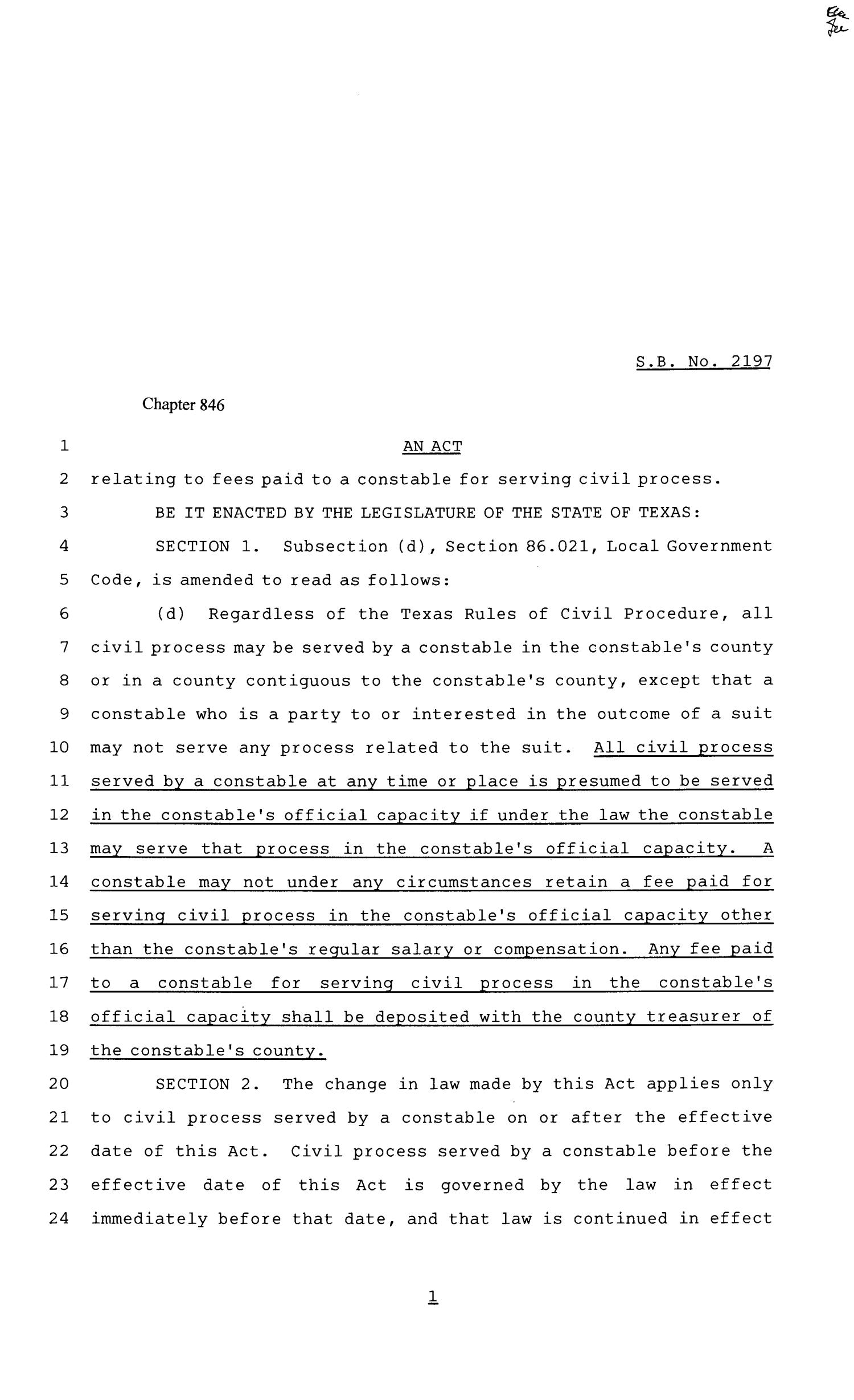 81st Texas Legislature, Senate Bill 2197, Chapter 846                                                                                                      [Sequence #]: 1 of 2