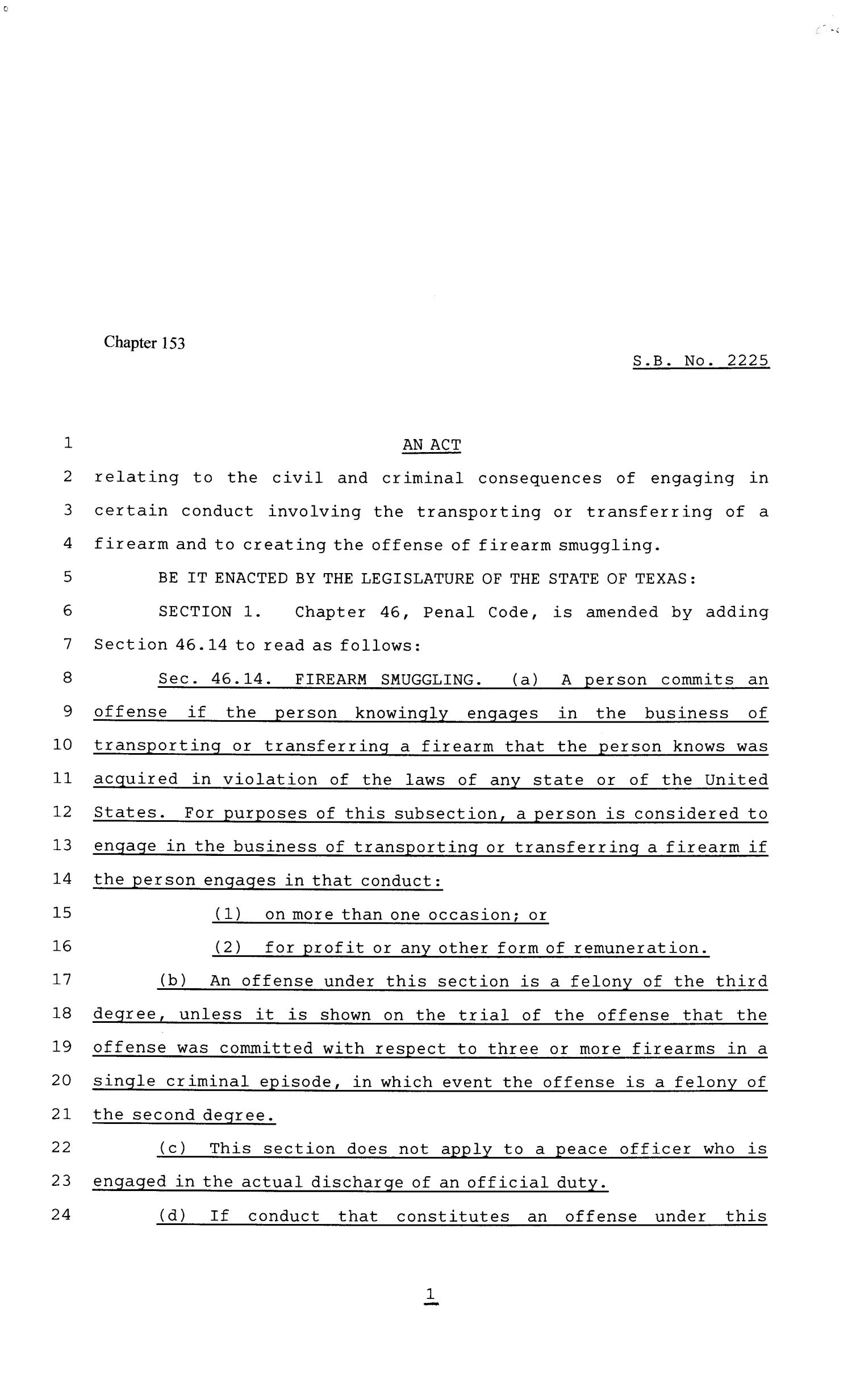 81st Texas Legislature, Senate Bill 2225, Chapter 153                                                                                                      [Sequence #]: 1 of 7