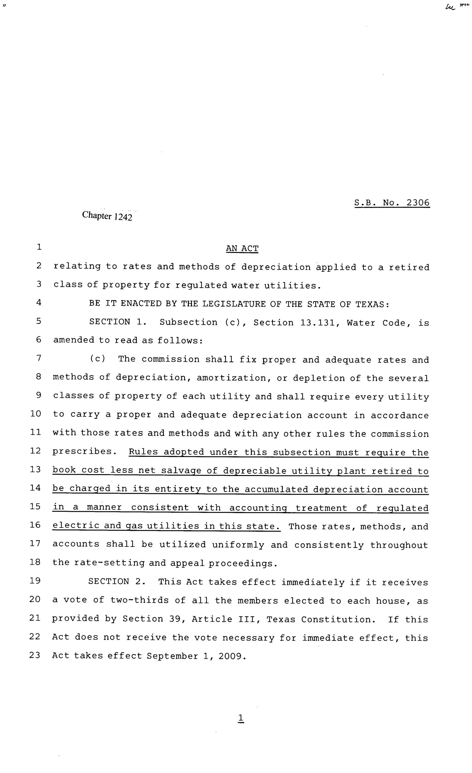 81st Texas Legislature, Senate Bill 2306, Chapter 1242                                                                                                      [Sequence #]: 1 of 2