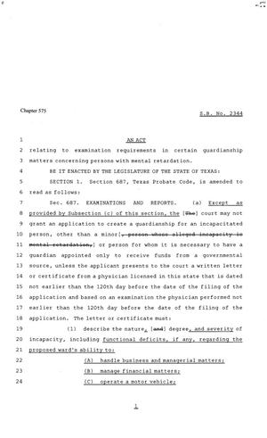 81st Texas Legislature, Senate Bill 2344, Chapter 575