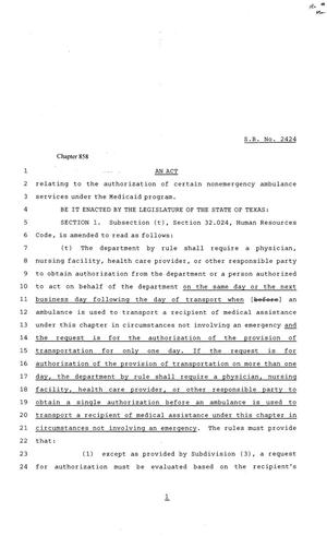 81st Texas Legislature, Senate Bill 2424, Chapter 858