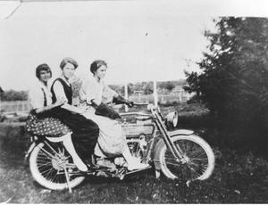 Primary view of object titled 'Nan and Henrietta Bideault and Bonnie Pate on a Motorcycle'.