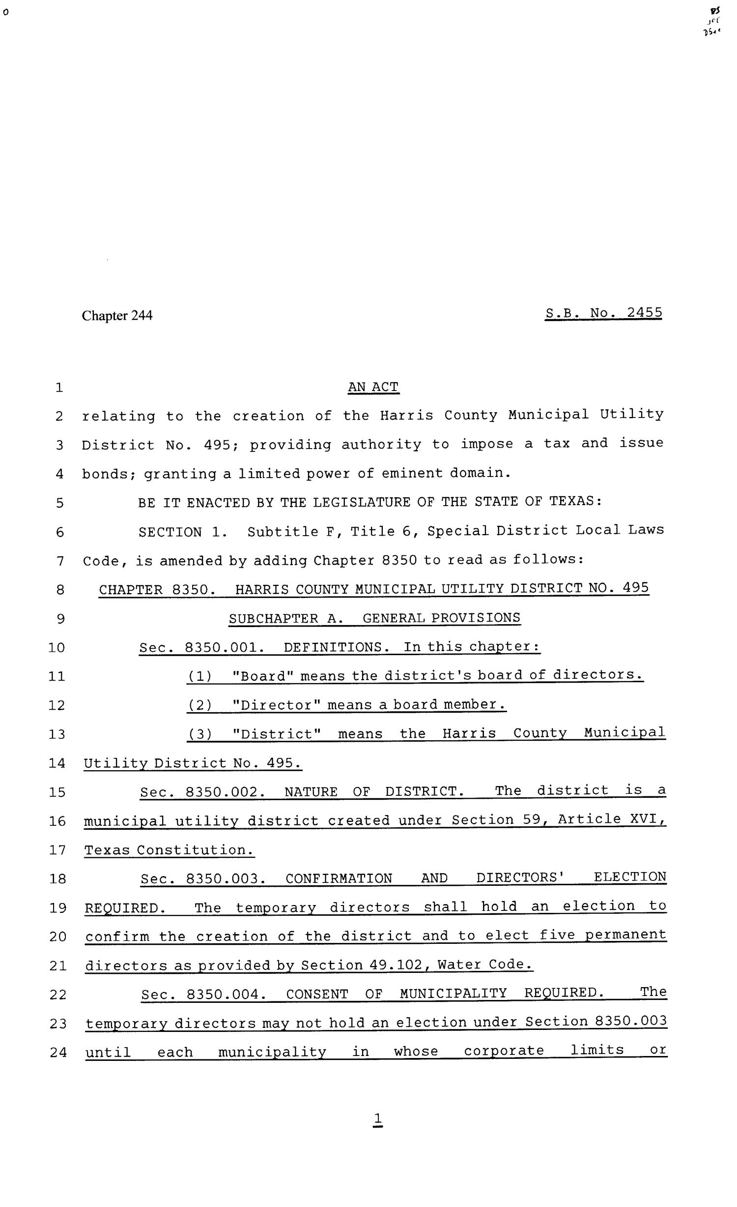 81st Texas Legislature, Senate Bill 2455, Chapter 244                                                                                                      [Sequence #]: 1 of 11