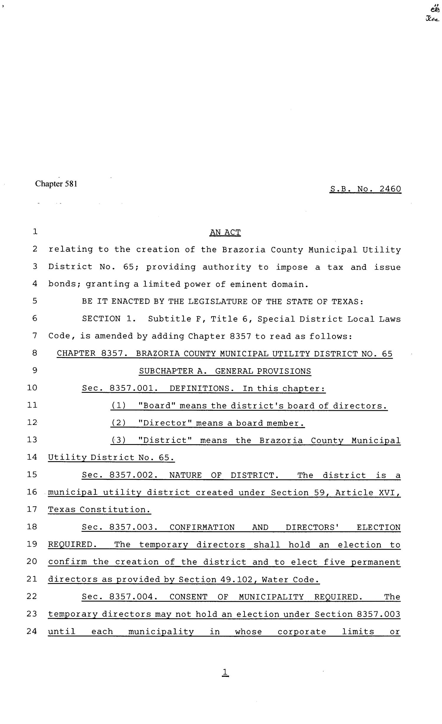 81st Texas Legislature, Senate Bill 2460, Chapter 581                                                                                                      [Sequence #]: 1 of 15