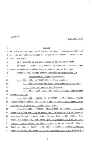81st Texas Legislature, Senate Bill 2473, Chapter 247
