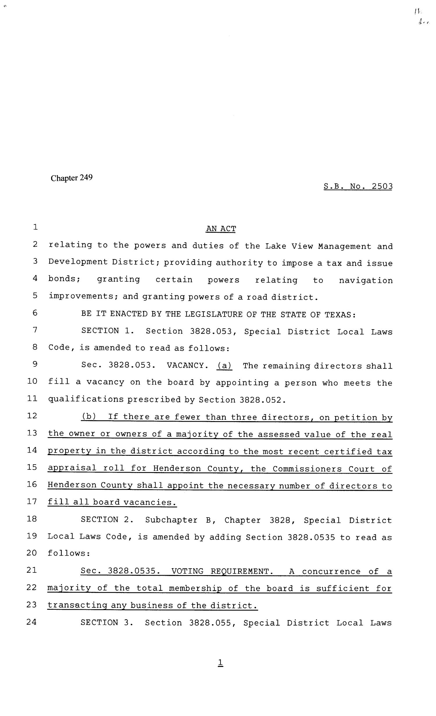81st Texas Legislature, Senate Bill 2503, Chapter 249                                                                                                      [Sequence #]: 1 of 9