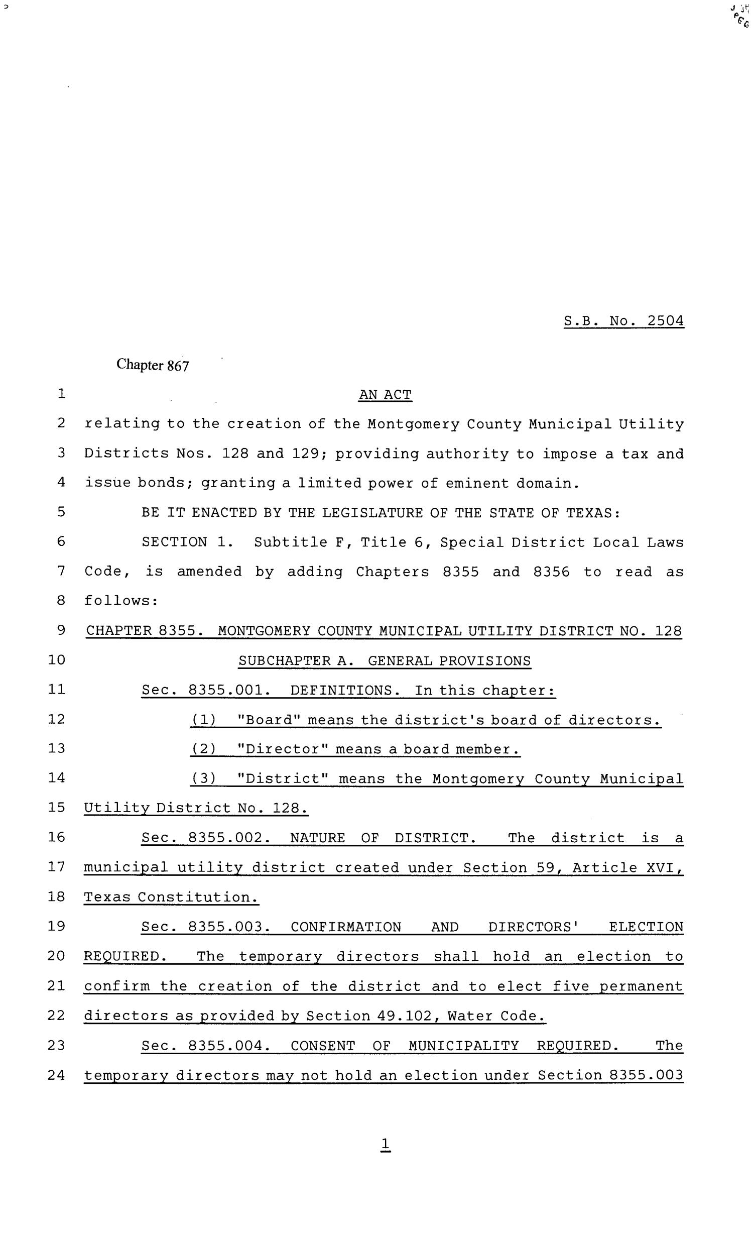 81st Texas Legislature, Senate Bill 2504, Chapter 867                                                                                                      [Sequence #]: 1 of 53