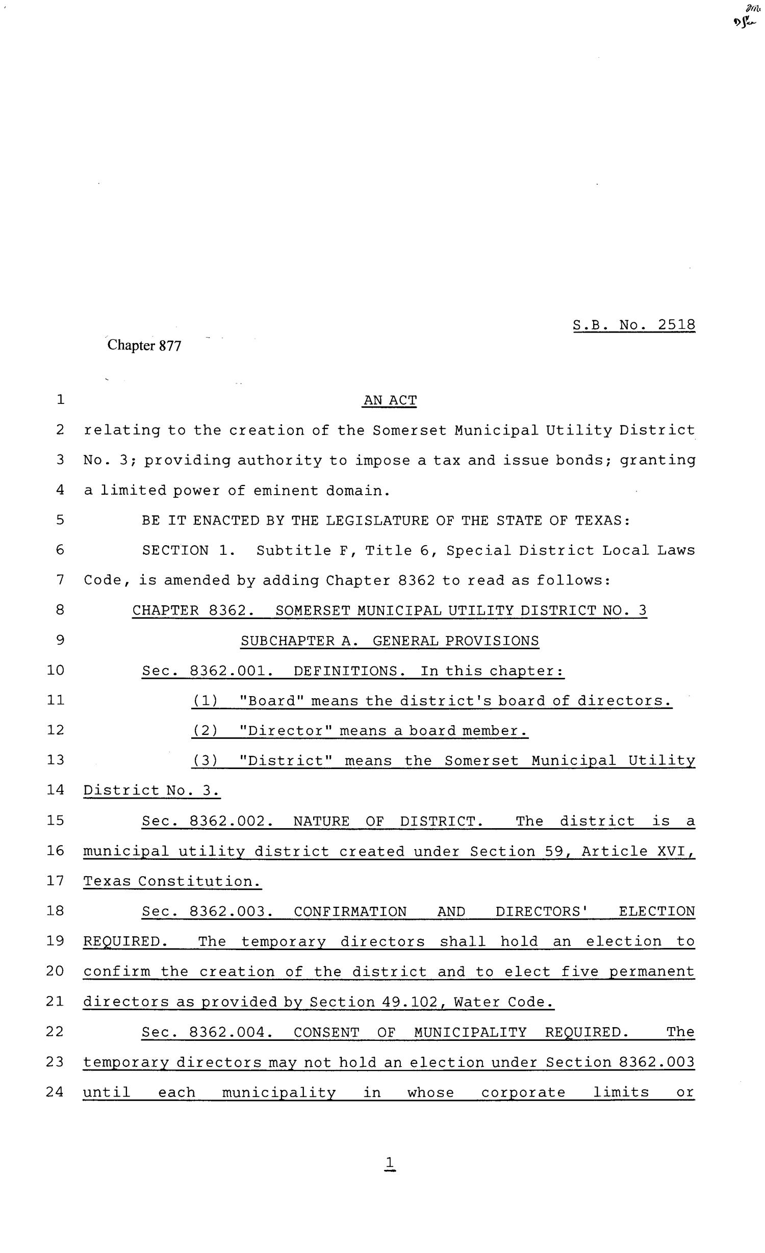 81st Texas Legislature, Senate Bill 2518, Chapter 877                                                                                                      [Sequence #]: 1 of 57
