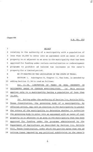Primary view of object titled '81st Texas Legislature, Senate Bill 252, Chapter 464'.