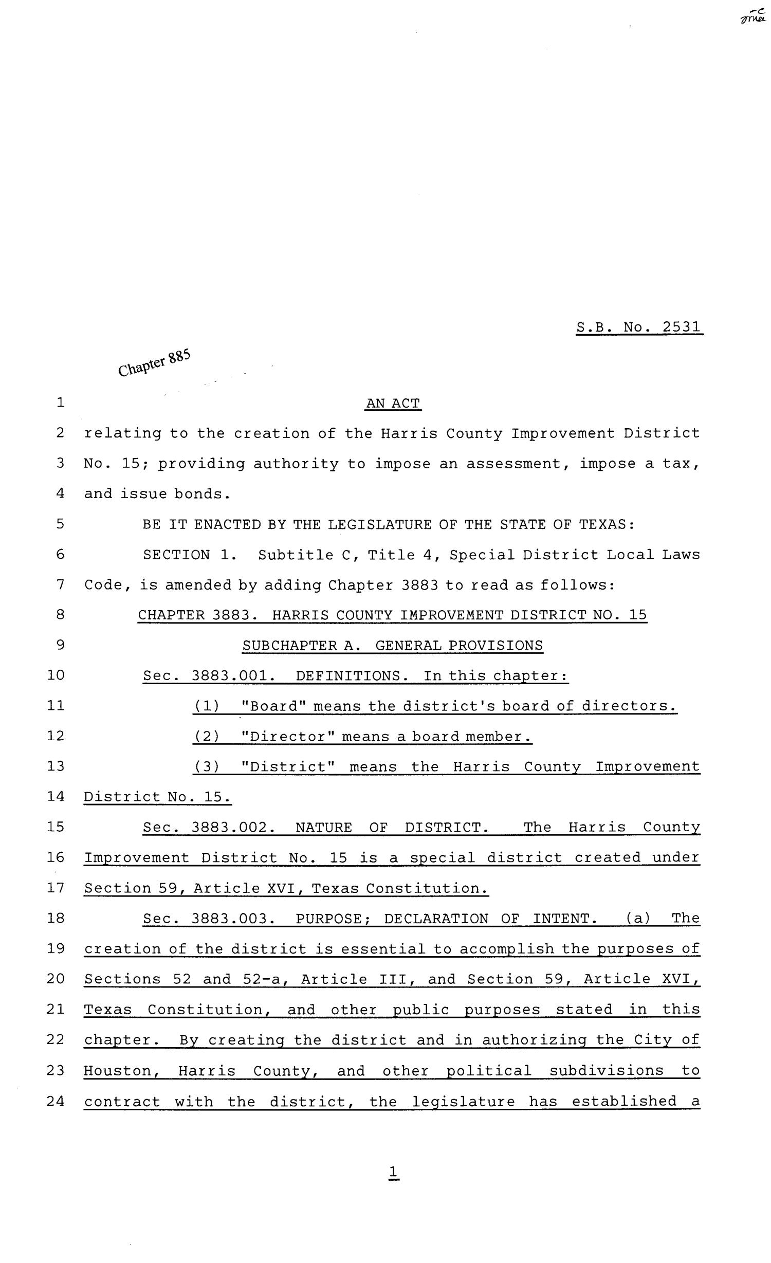 81st Texas Legislature, Senate Bill 2531, Chapter 885                                                                                                      [Sequence #]: 1 of 29