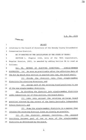 Primary view of object titled '81st Texas Legislature, Senate Bill 2570, Chapter 893'.