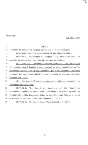 81st Texas Legislature, Senate Bill 2577, Chapter 1399