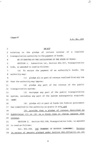 81st Texas Legislature, Senate Bill 293, Chapter 47