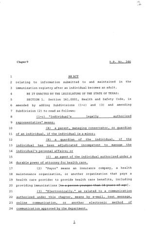 Primary view of object titled '81st Texas Legislature, Senate Bill 346, Chapter 9'.