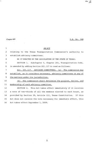 Primary view of object titled '81st Texas Legislature, Senate Bill 348, Chapter 469'.
