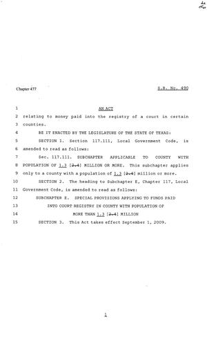 Primary view of object titled '81st Texas Legislature, Senate Bill 490, Chapter 522'.