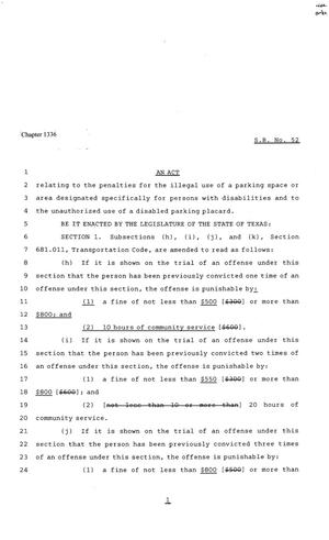 Primary view of 81st Texas Legislature, Senate Bill 52, Chapter 1336