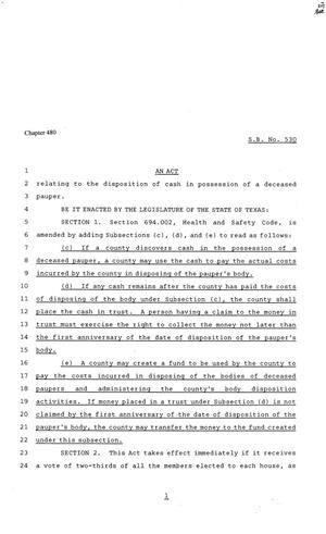 Primary view of object titled '81st Texas Legislature, Senate Bill 530, Chapter 480'.