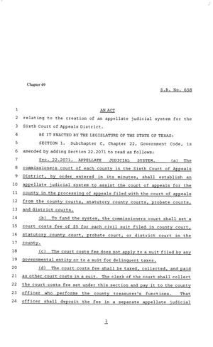 Primary view of object titled '81st Texas Legislature, Senate Bill 658, Chapter 49'.
