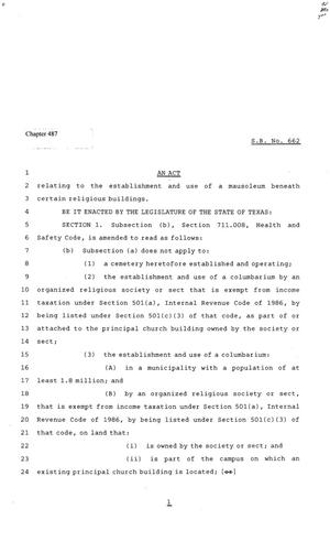 81st Texas Legislature, Senate Bill 662, Chapter 487