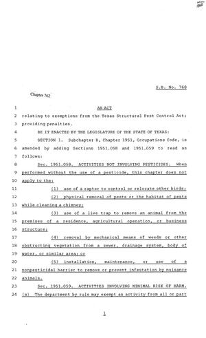 Primary view of object titled '81st Texas Legislature, Senate Bill 768, Chapter 762'.