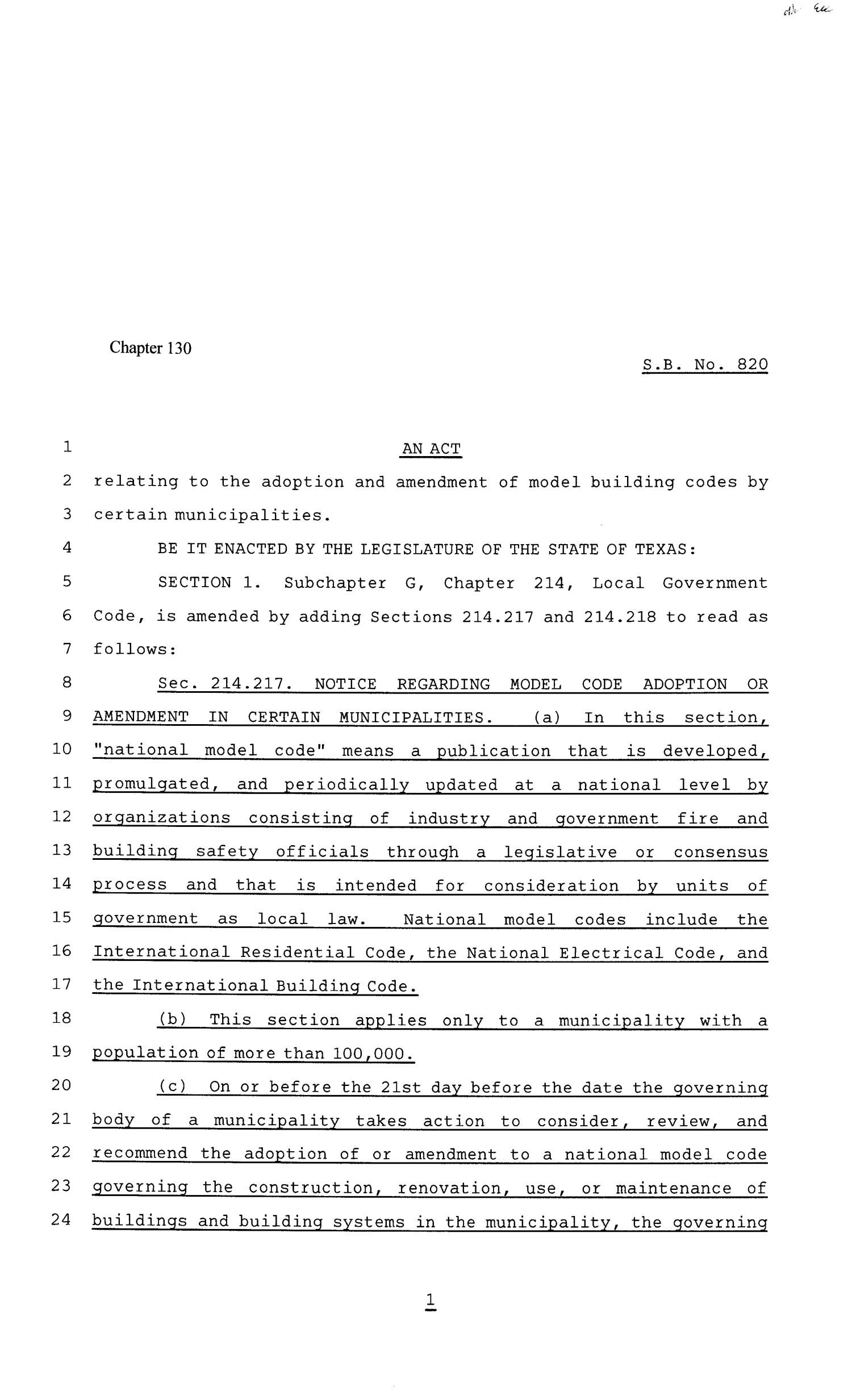 81st Texas Legislature, Senate Bill 820, Chapter 130                                                                                                      [Sequence #]: 1 of 4