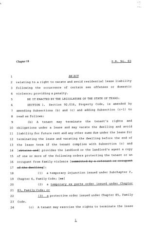 Primary view of object titled '81st Texas Legislature, Senate Bill 83, Chapter 18'.