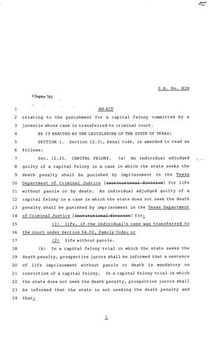 Primary view of object titled '81st Texas Legislature, Senate Bill 839, Chapter 765'.
