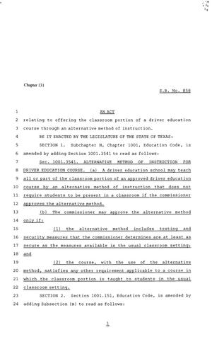 Primary view of object titled '81st Texas Legislature, Senate Bill 858, Chapter 131'.