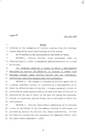 Primary view of object titled '81st Texas Legislature, Senate Bill 874, Chapter 278'.