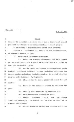Primary view of object titled '81st Texas Legislature, Senate Bill 892, Chapter 500'.