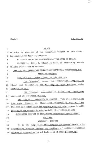 Primary view of object titled '81st Texas Legislature, Senate Bill 90, Chapter 8'.