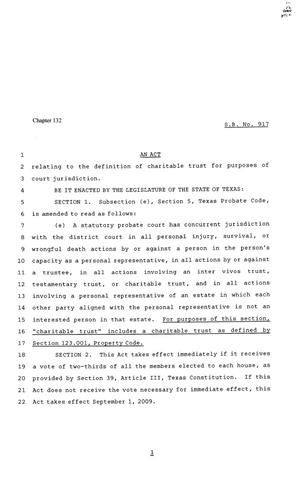 Primary view of object titled '81st Texas Legislature, Senate Bill 917, Chapter 132'.