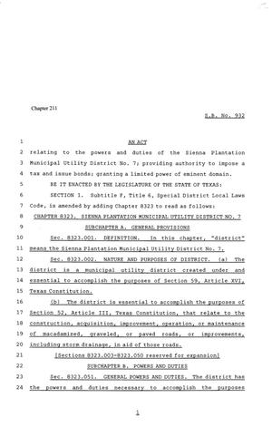 81st Texas Legislature, Senate Bill 932, Chapter 211