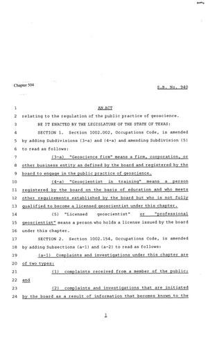Primary view of object titled '81st Texas Legislature, Senate Bill 940, Chapter 504'.