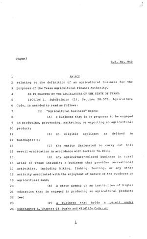 Primary view of object titled '81st Texas Legislature, Senate Bill 948, Chapter 5'.