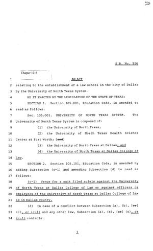 Primary view of object titled '81st Texas Legislature, Senate Bill 956, Chapter 1213'.