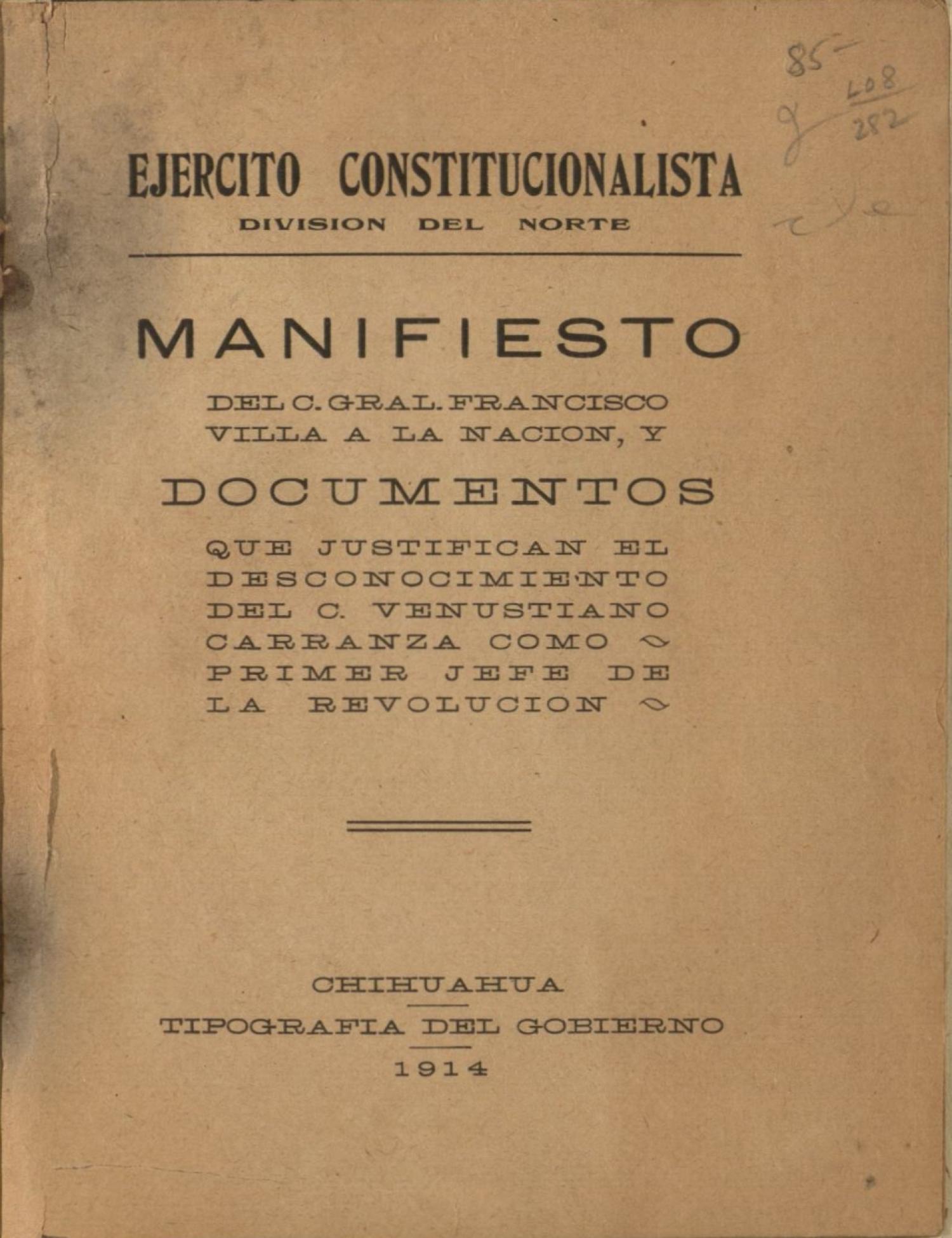 Manifiesto del C. Gral Francisco Villa a la nación y