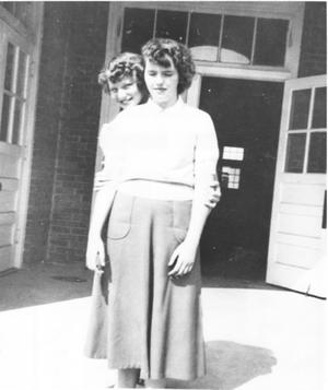 Primary view of object titled 'Norma Austin and Judy Fanning in Front of Hurst School'.