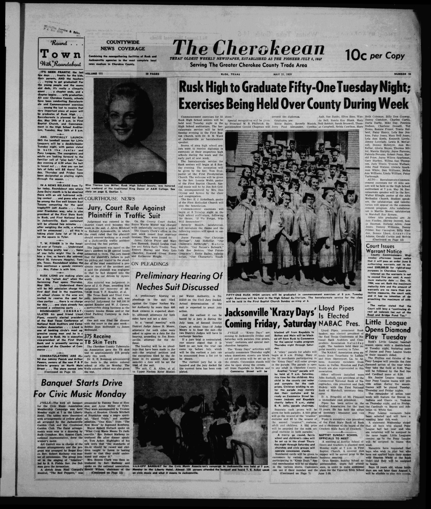 The Cherokeean. (Rusk, Tex.), Vol. 111, No. 48, Ed. 1 Thursday, May 21, 1959                                                                                                      [Sequence #]: 1 of 18