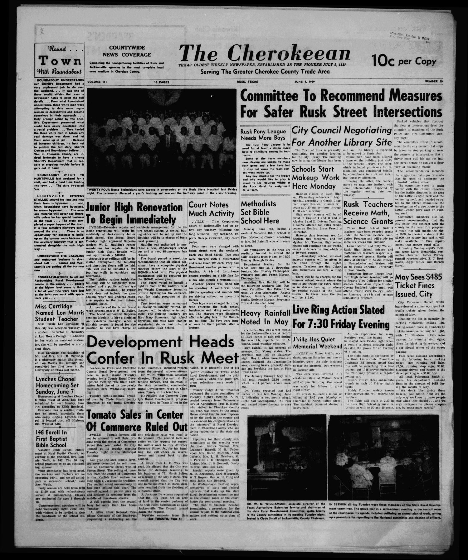 The Cherokeean. (Rusk, Tex.), Vol. 111, No. 50, Ed. 1 Thursday, June 4, 1959                                                                                                      [Sequence #]: 1 of 16