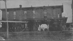 [The first railway station located in Rosenberg, Texas.]