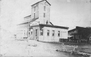 Primary view of object titled '[The grain elevator near the railroad in Rosenberg, Texas.]'.