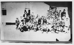 Primary view of object titled 'Unidentified School Group with Instructor'.