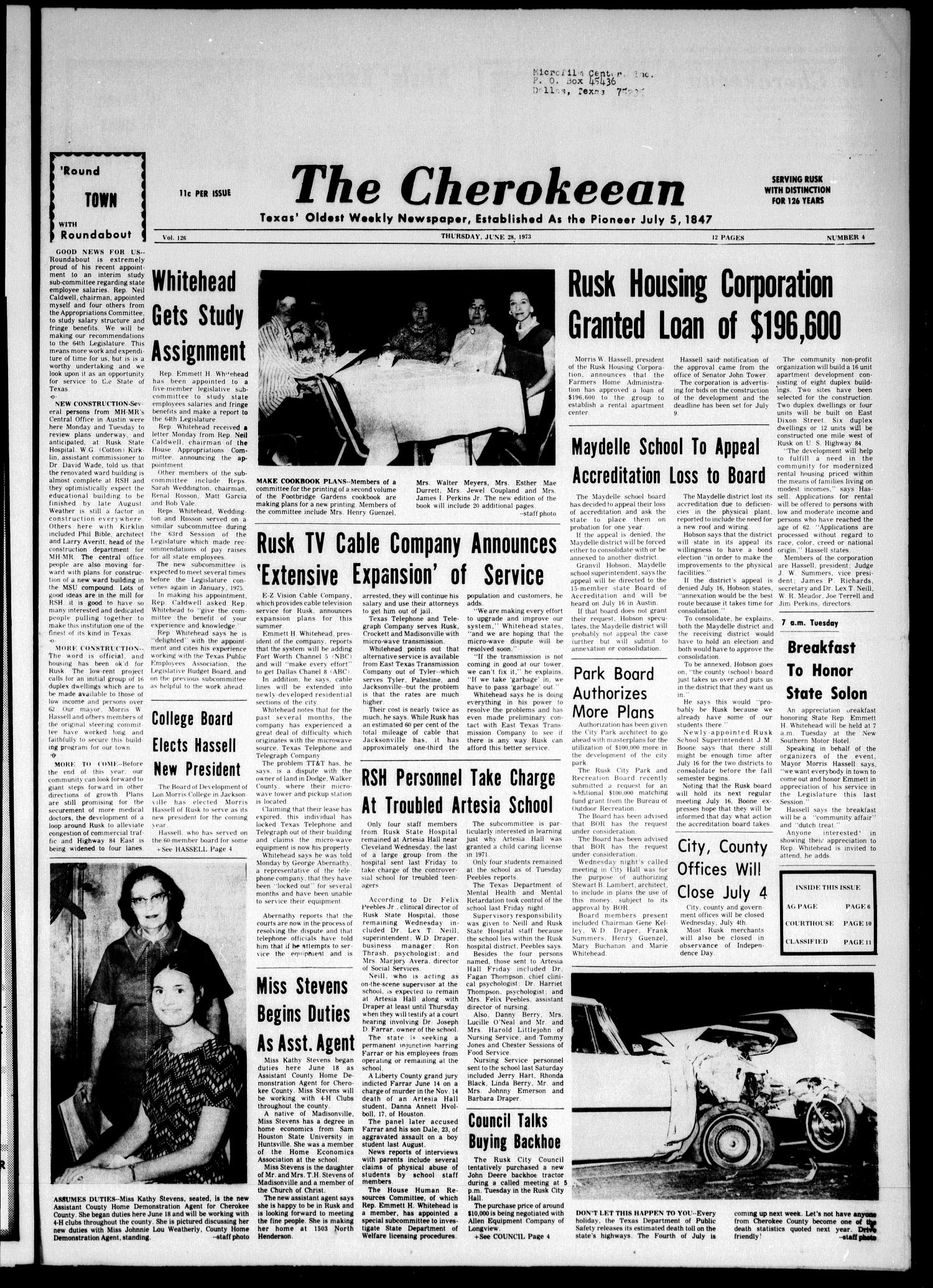 The Cherokeean. (Rusk, Tex.), Vol. 126, No. 4, Ed. 1 Thursday, June 28, 1973                                                                                                      [Sequence #]: 1 of 12