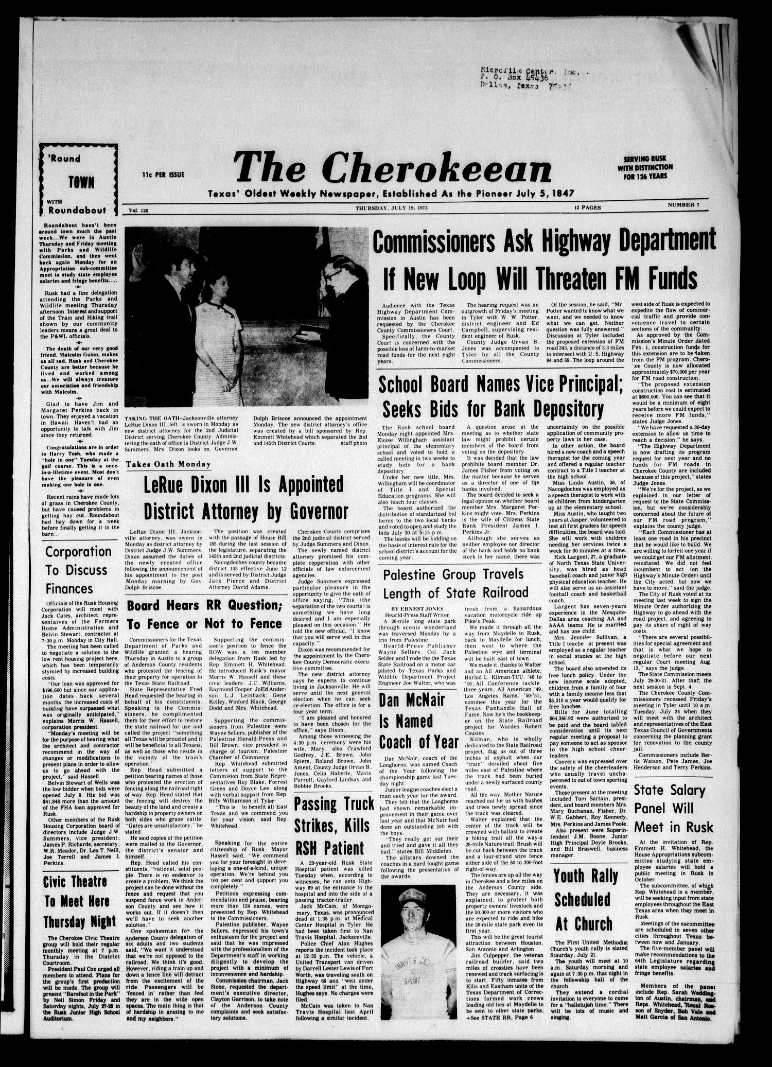 The Cherokeean. (Rusk, Tex.), Vol. 126, No. 7, Ed. 1 Thursday, July 19, 1973                                                                                                      [Sequence #]: 1 of 12